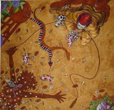 """a arte de retta: """"cobra coral"""" - acrílico sobre tela."""