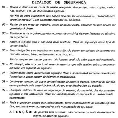 SNI DECÁLOGO DE SEGURANÇA