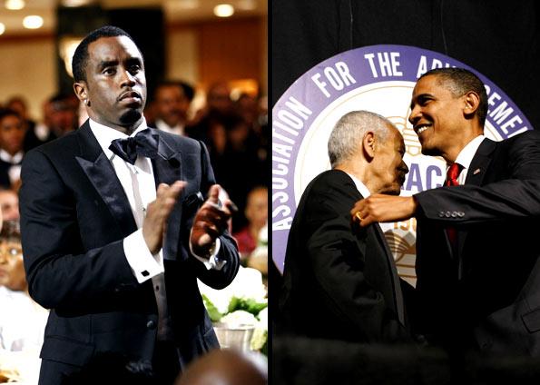 Obama cumprimenta Julian Bond, diretor da NAACP, e recebe aplausos do rapper e ator Sean Combs, em Nova York (Foto: Kevin Lamarque/Reuters)