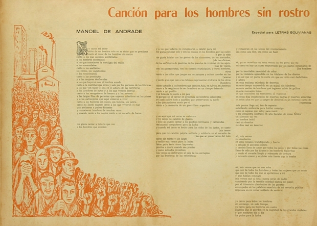 panfleto do poema, na Colombia (1970), com arte de atilio carrasco.