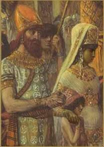 a rainha de Sabá e o seu amado o rei Salomão.